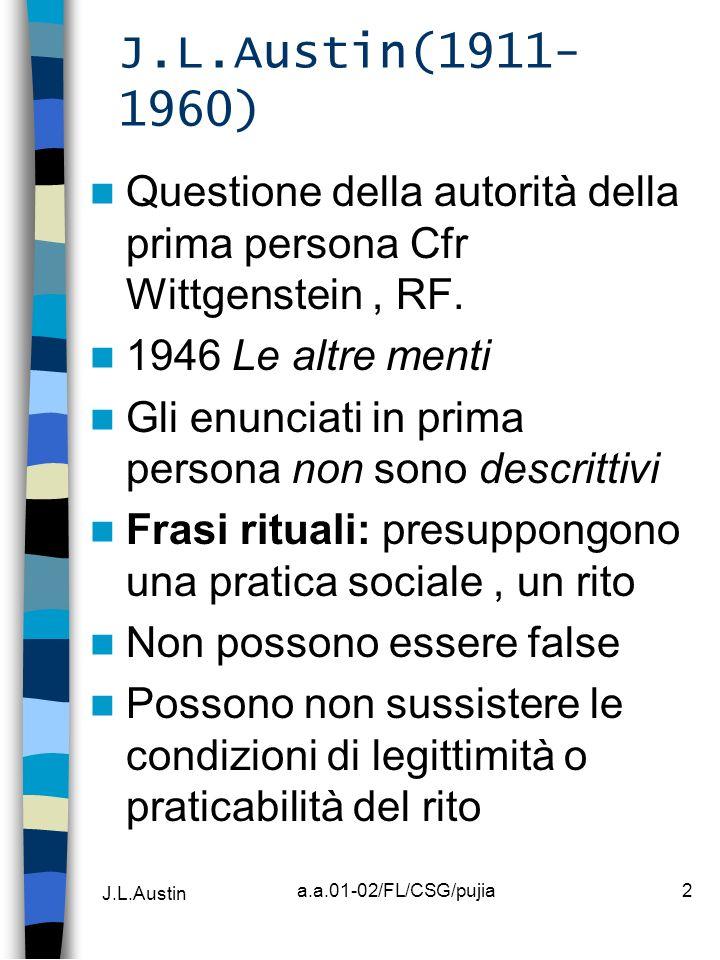 J.L.Austin(1911-1960) Questione della autorità della prima persona Cfr Wittgenstein , RF. 1946 Le altre menti.