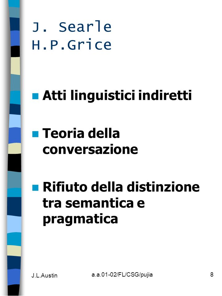 J. Searle H.P.Grice Atti linguistici indiretti