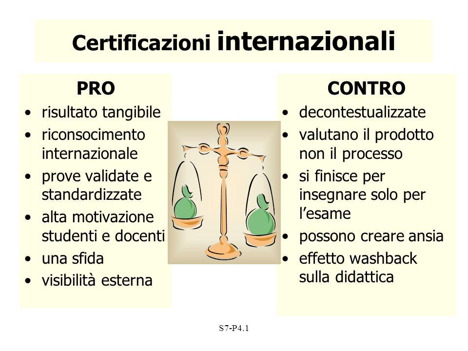 Certificazioni internazionali