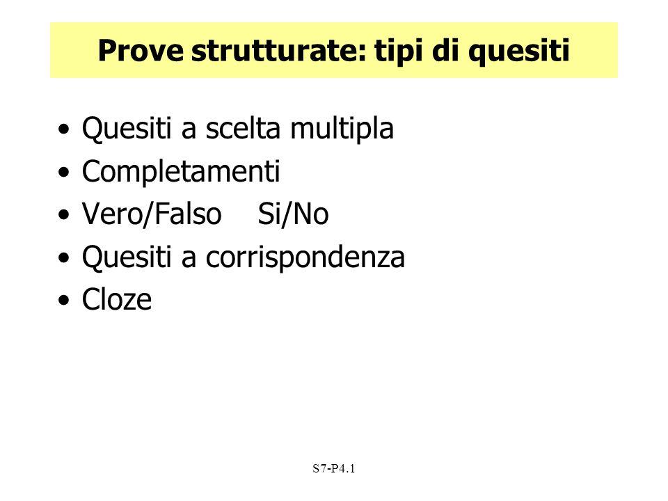Prove strutturate: tipi di quesiti