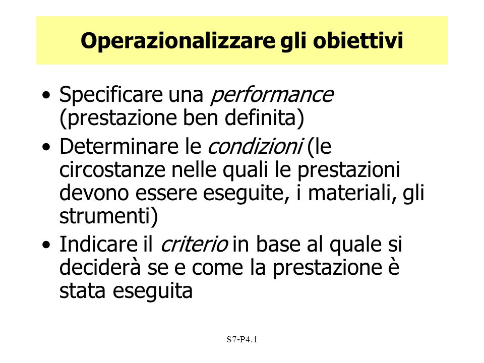 Operazionalizzare gli obiettivi