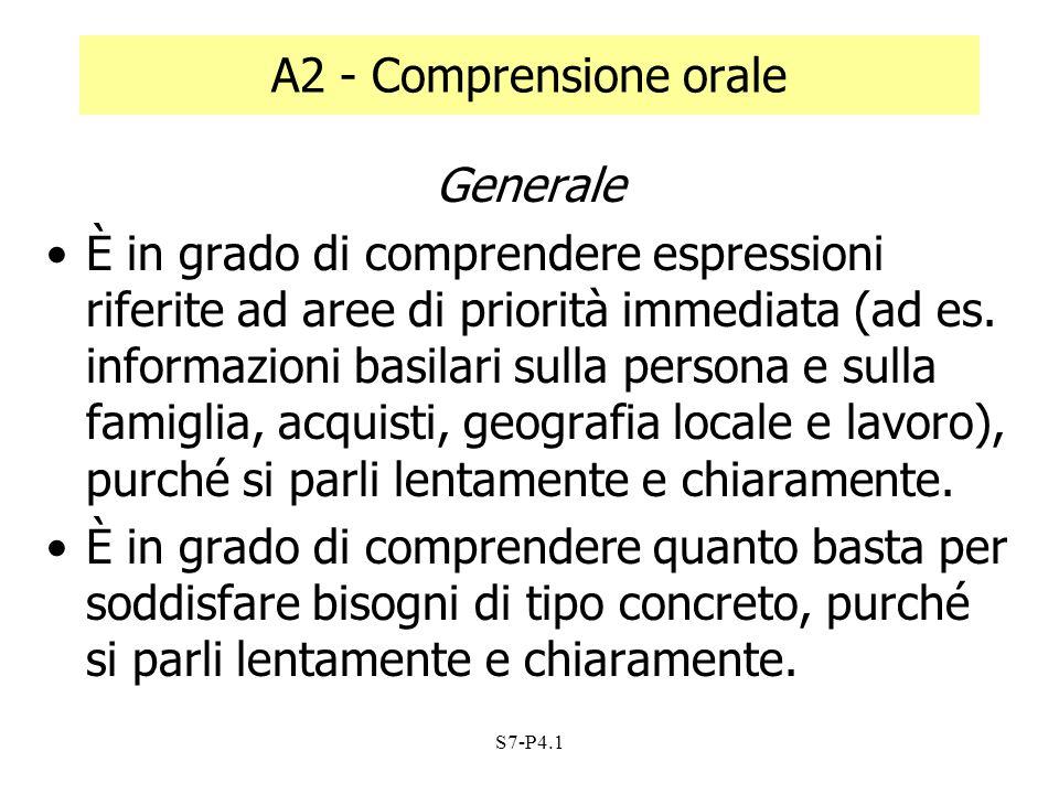 A2 - Comprensione orale Generale
