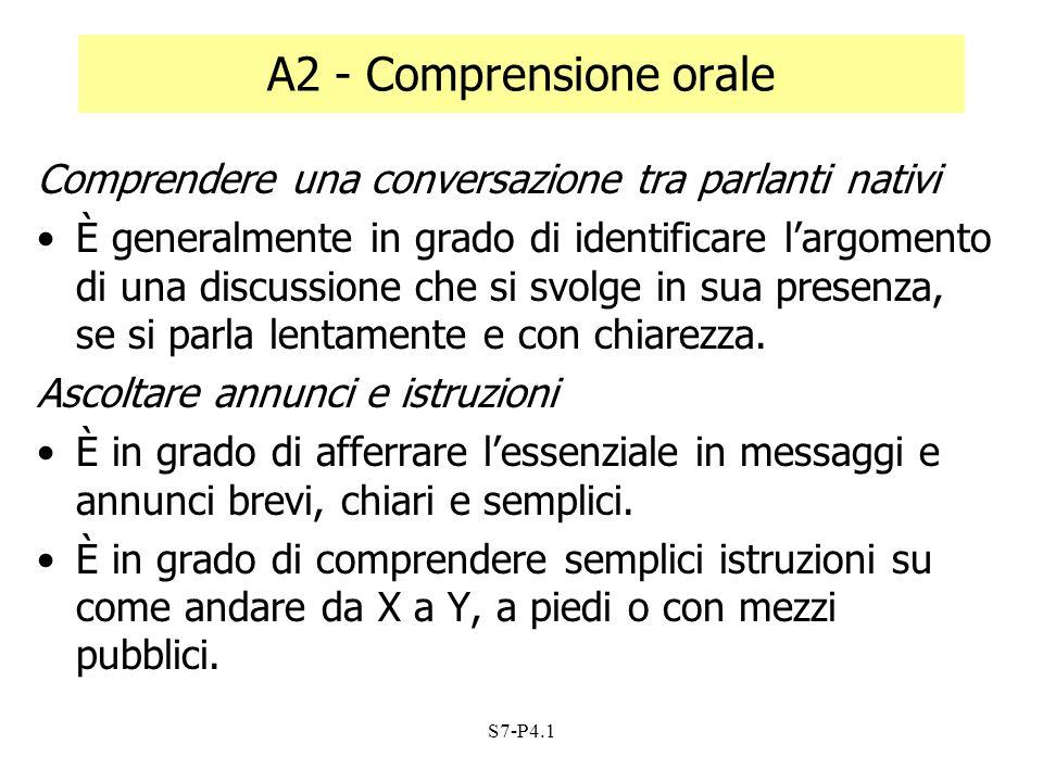 A2 - Comprensione orale Comprendere una conversazione tra parlanti nativi.