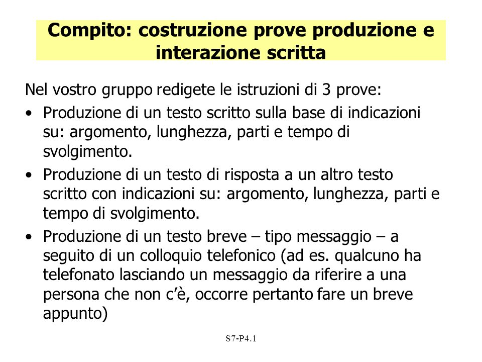 Compito: costruzione prove produzione e interazione scritta