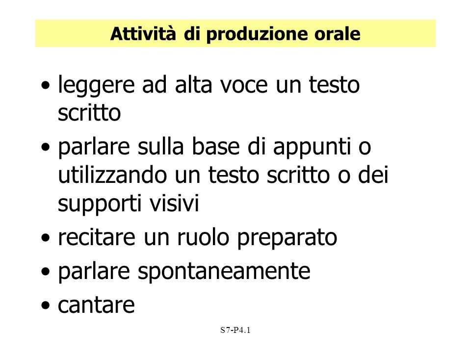 Attività di produzione orale