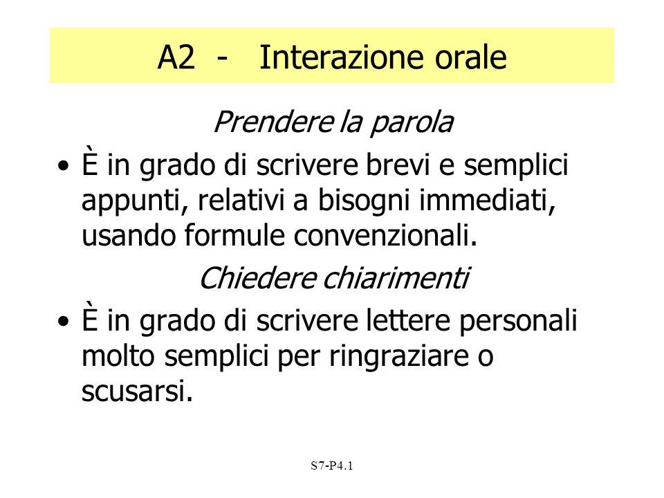 A2 - Interazione orale Prendere la parola