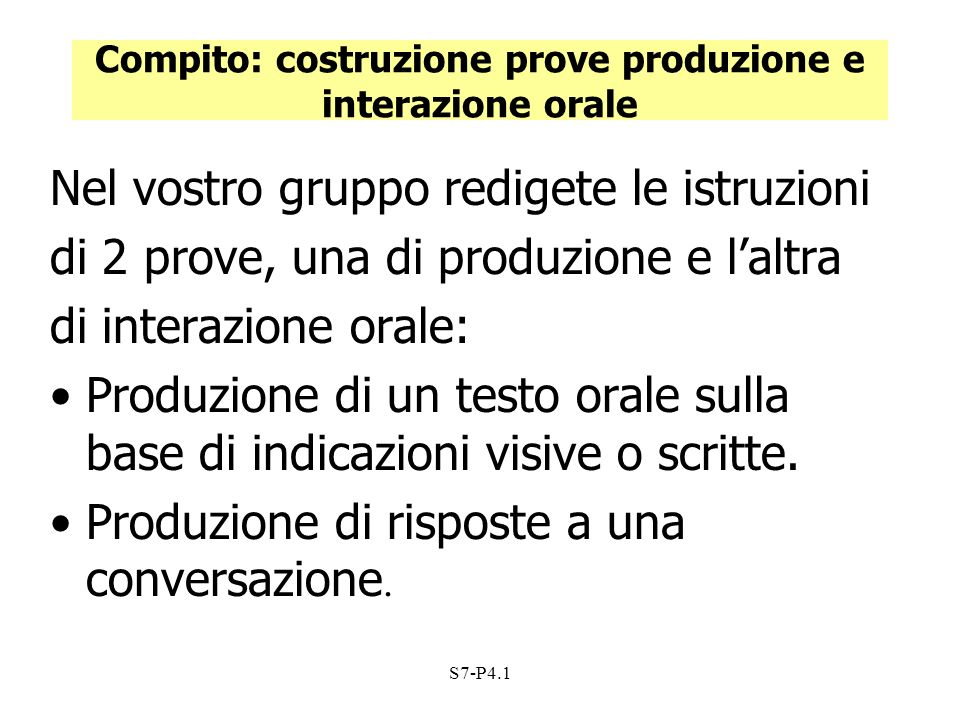 Compito: costruzione prove produzione e interazione orale