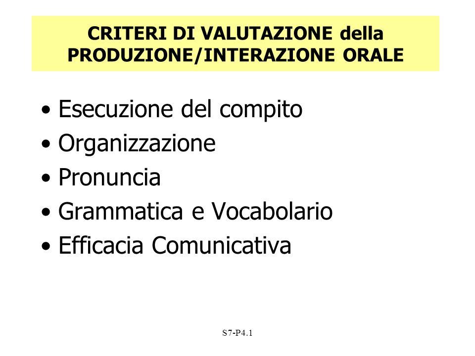 CRITERI DI VALUTAZIONE della PRODUZIONE/INTERAZIONE ORALE