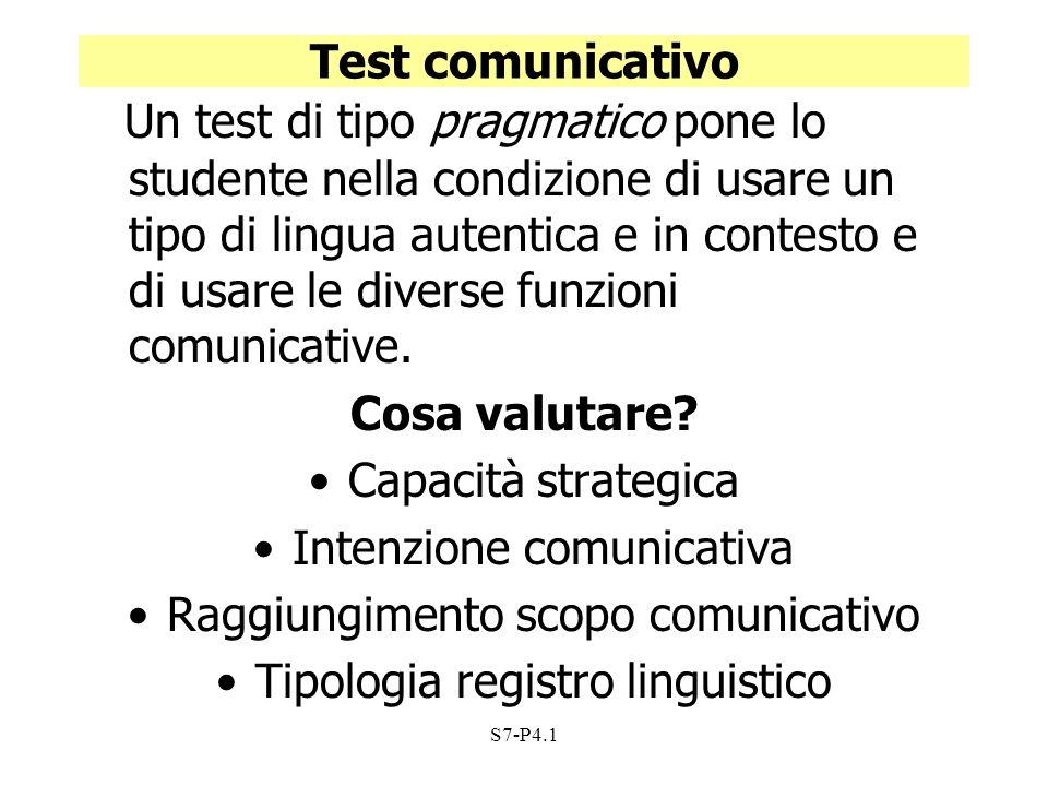 Test comunicativo Cosa valutare