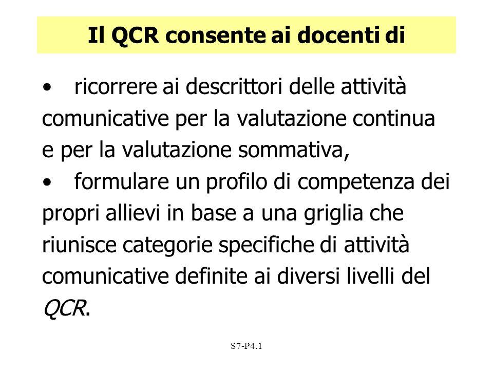 Il QCR consente ai docenti di