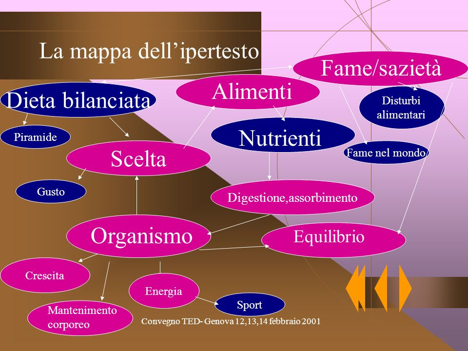 La mappa dell'ipertesto Fame/sazietà Alimenti Dieta bilanciata