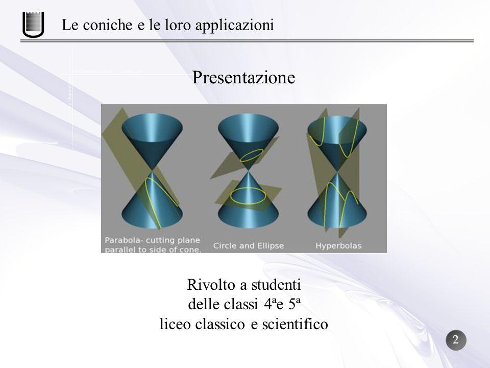 Presentazione Le coniche e le loro applicazioni Rivolto a studenti