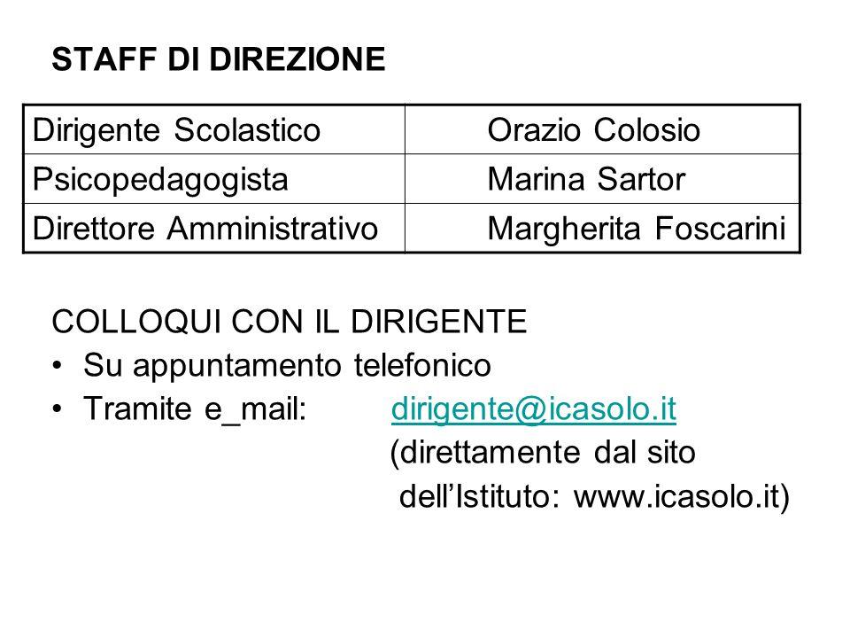 STAFF DI DIREZIONECOLLOQUI CON IL DIRIGENTE. Su appuntamento telefonico. Tramite e_mail: dirigente@icasolo.it.