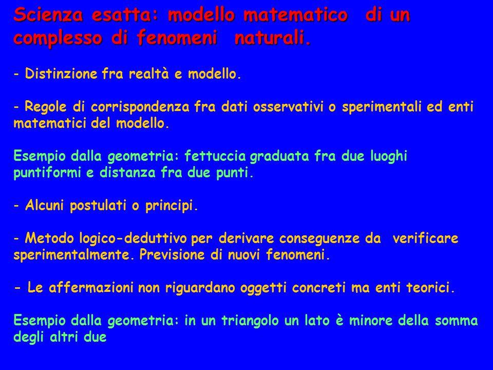 Scienza esatta: modello matematico di un complesso di fenomeni naturali.