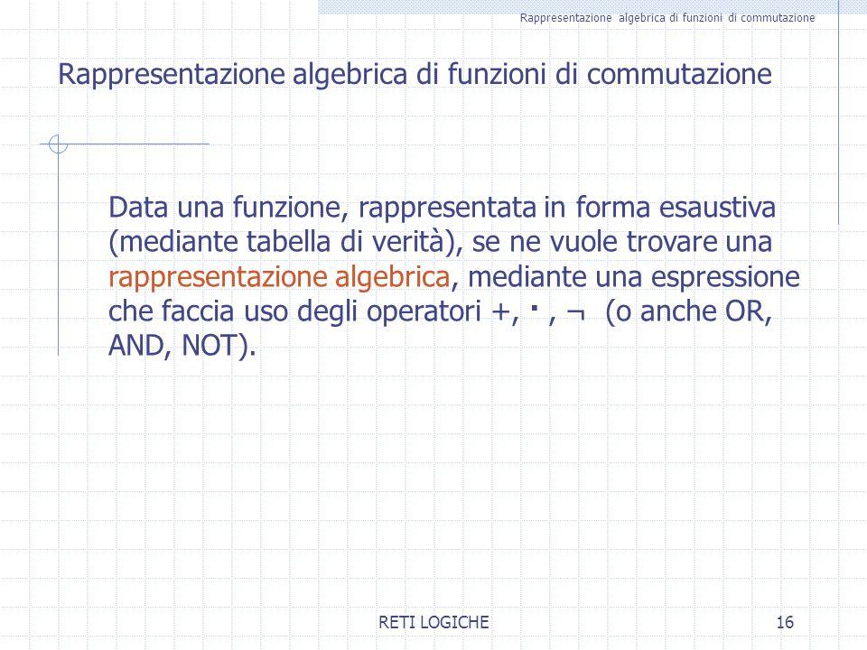 Rappresentazione algebrica di funzioni di commutazione