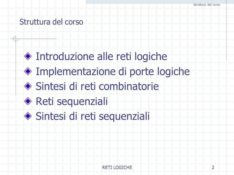 Introduzione alle reti logiche Implementazione di porte logiche
