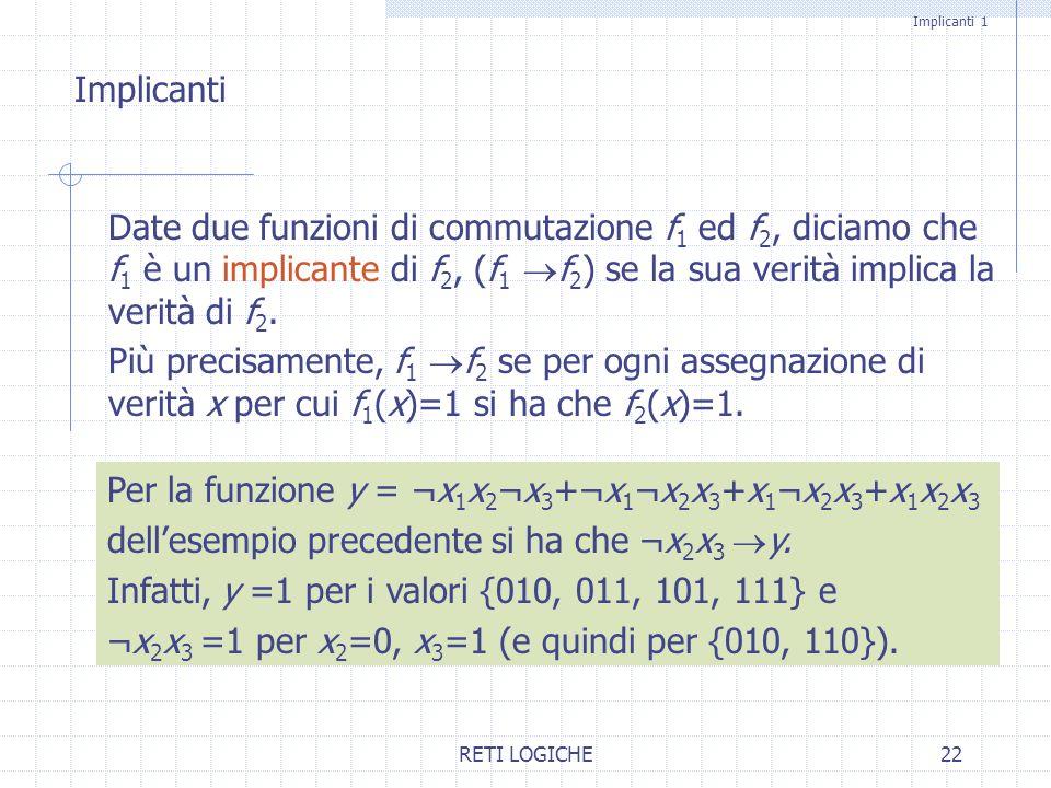 Per la funzione y = ¬x1x2¬x3+¬x1¬x2x3+x1¬x2x3+x1x2x3