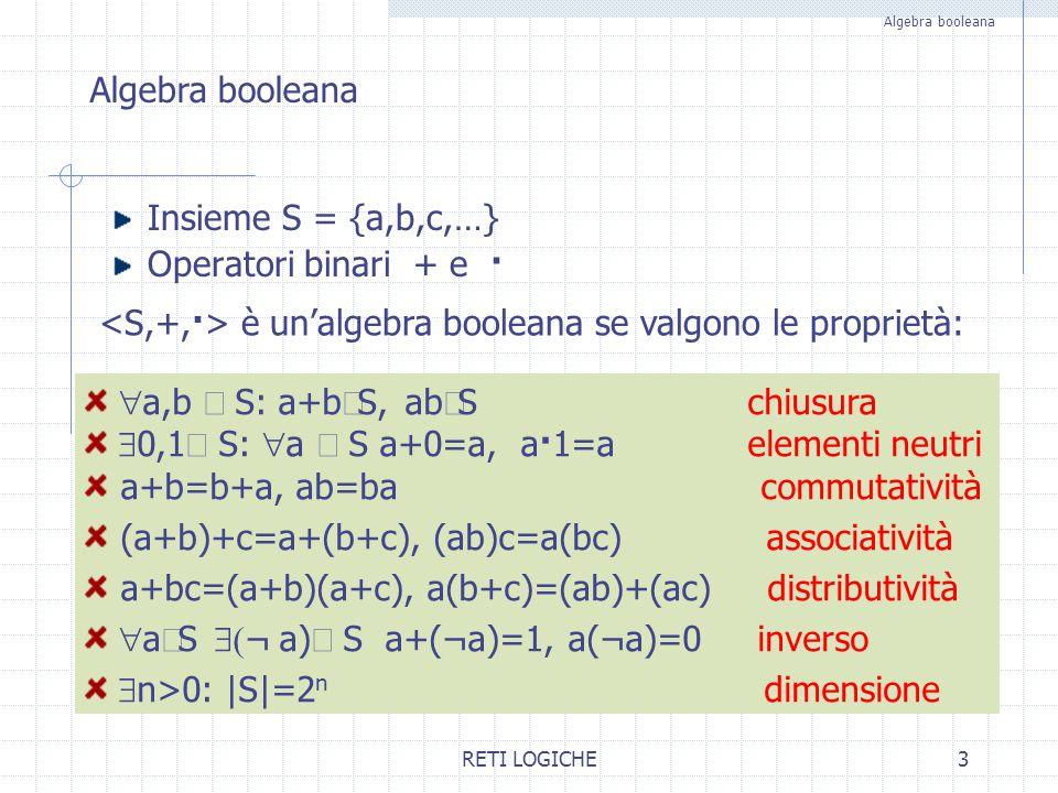 <S,+,·> è un'algebra booleana se valgono le proprietà: