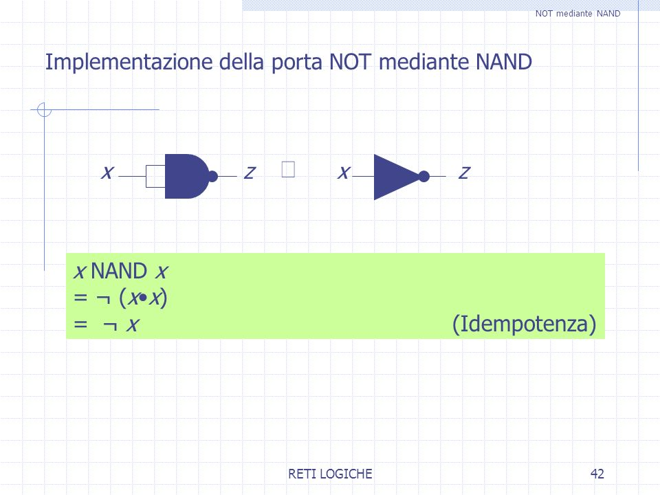 º Implementazione della porta NOT mediante NAND x z x NAND x = ¬ (x•x)