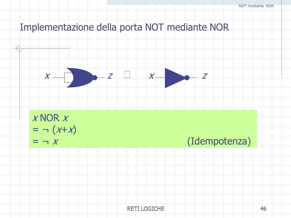 º Implementazione della porta NOT mediante NOR x z x NOR x = ¬ (x+x)