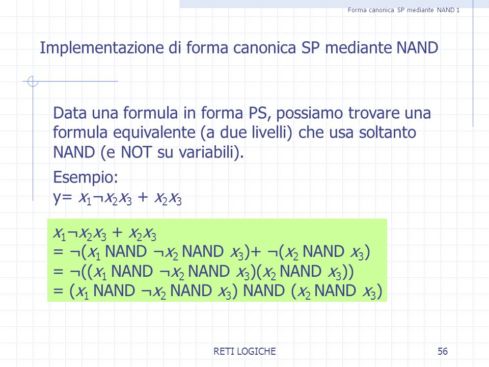 Forma canonica SP mediante NAND 1