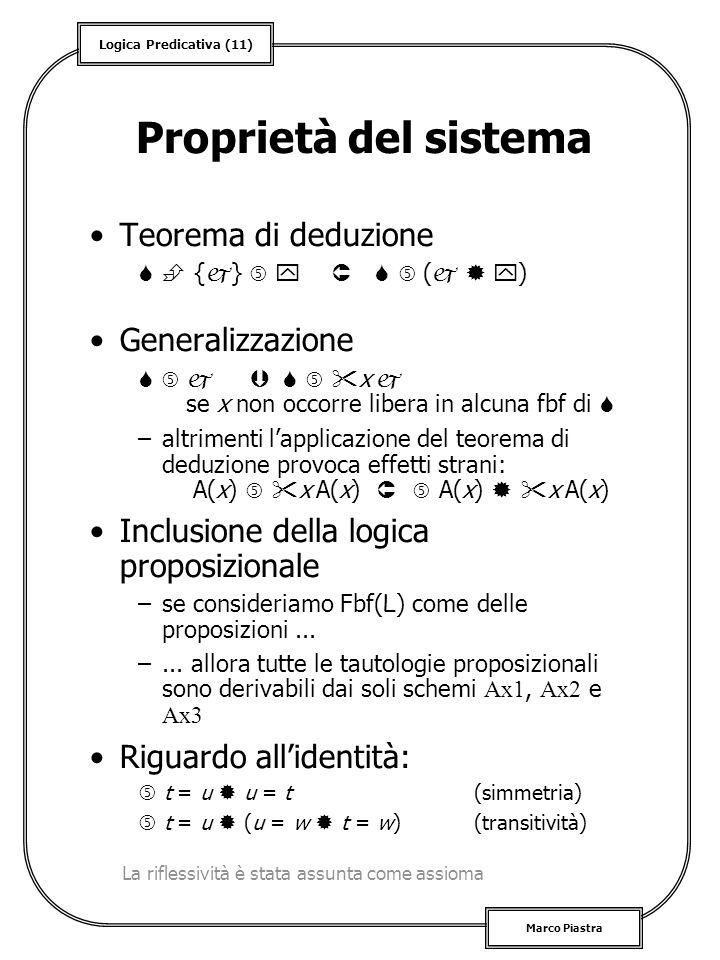Proprietà del sistema Teorema di deduzione Generalizzazione