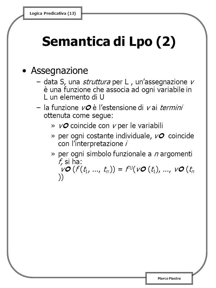 Semantica di Lpo (2) Assegnazione