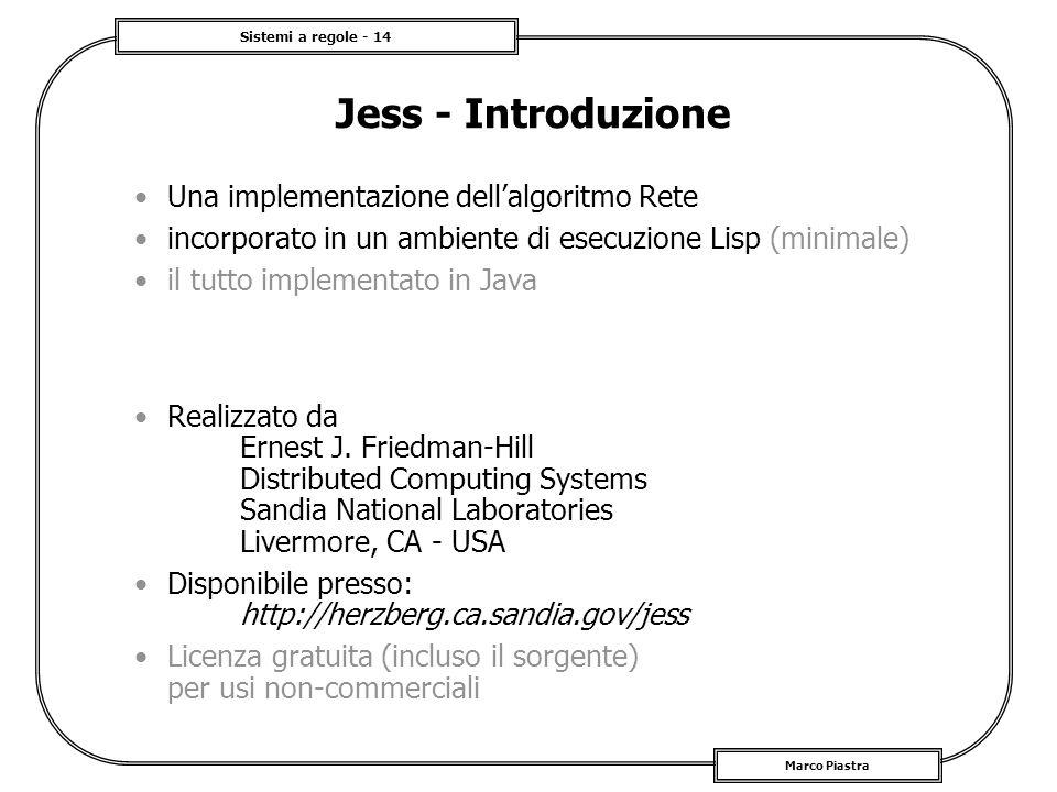 Jess - Introduzione Una implementazione dell'algoritmo Rete