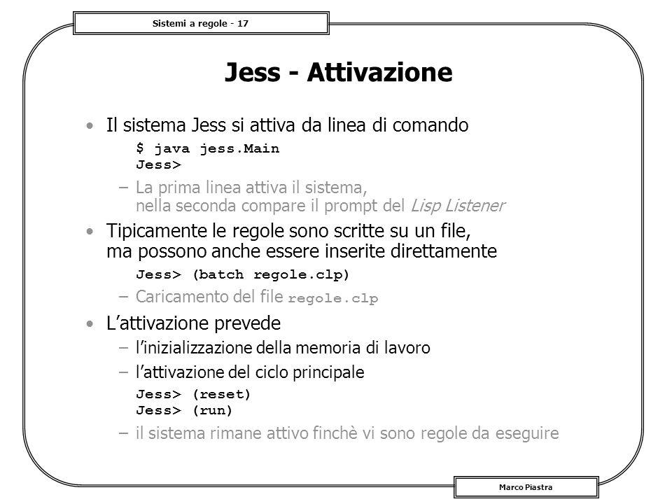 Jess - Attivazione Il sistema Jess si attiva da linea di comando