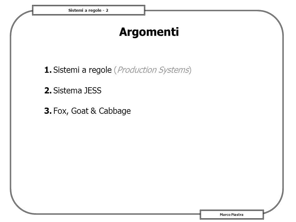 Argomenti 1. Sistemi a regole (Production Systems) 2. Sistema JESS