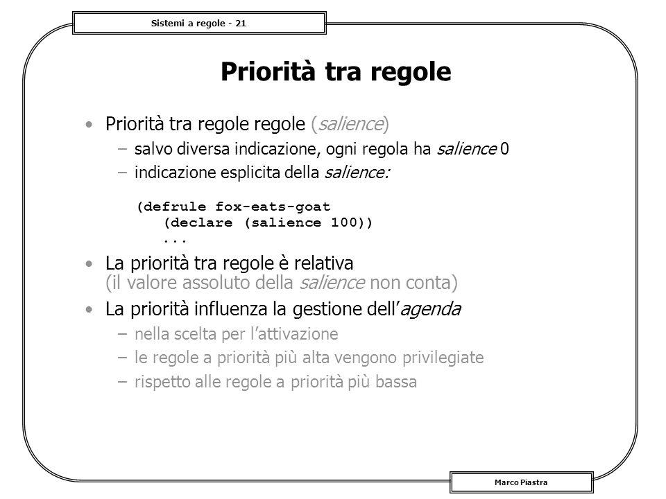 Priorità tra regole Priorità tra regole regole (salience)