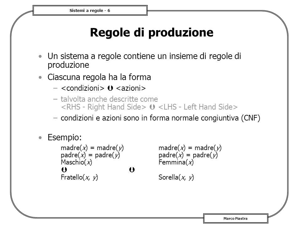 Regole di produzioneUn sistema a regole contiene un insieme di regole di produzione. Ciascuna regola ha la forma.