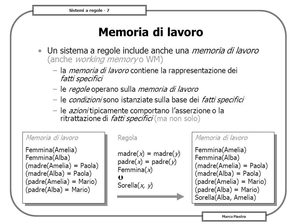 Memoria di lavoro Un sistema a regole include anche una memoria di lavoro (anche working memory o WM)