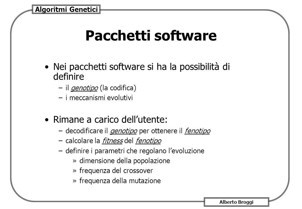 Pacchetti software Nei pacchetti software si ha la possibilità di definire. il genotipo (la codifica)