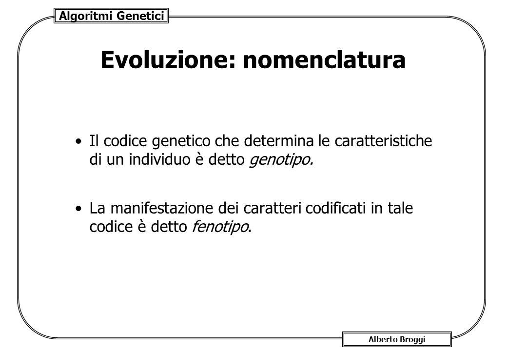 Evoluzione: nomenclatura