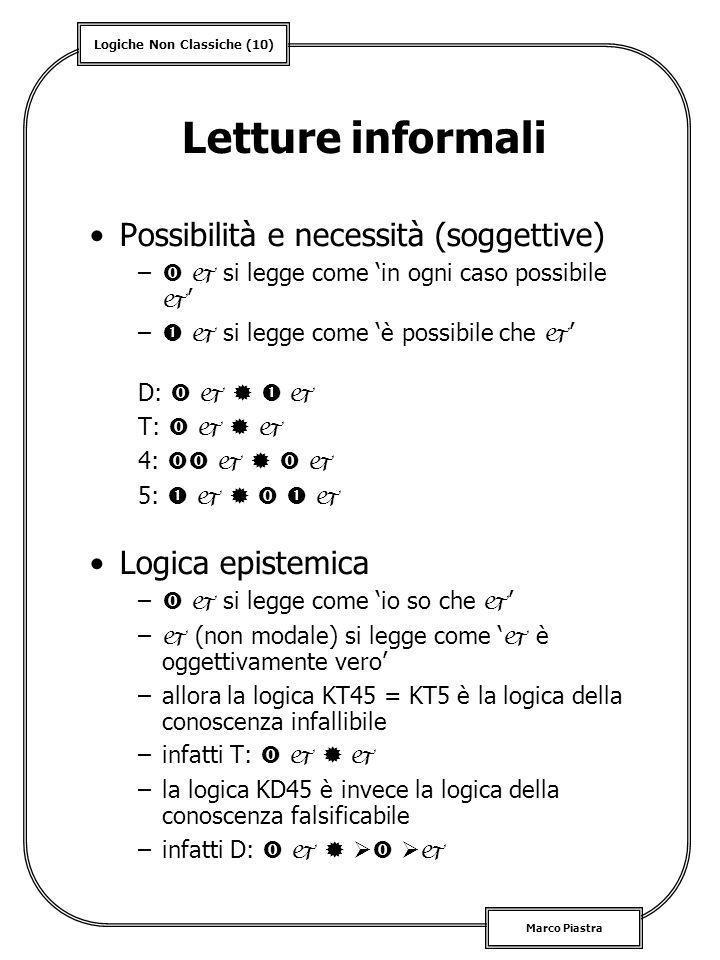 Letture informali Possibilità e necessità (soggettive)