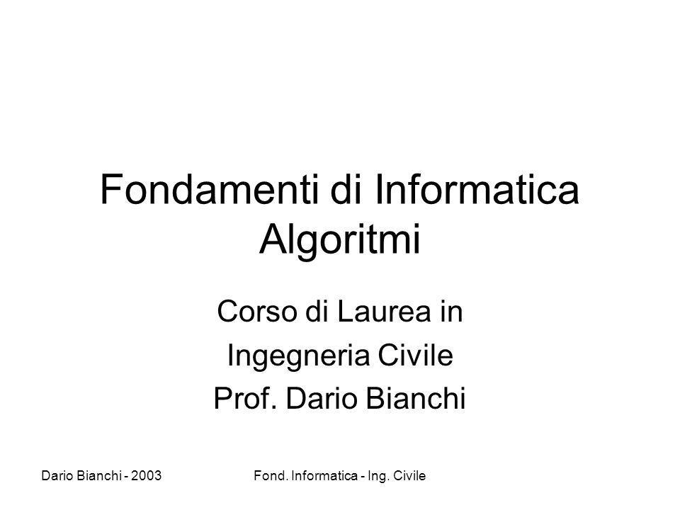 Fondamenti di Informatica Algoritmi