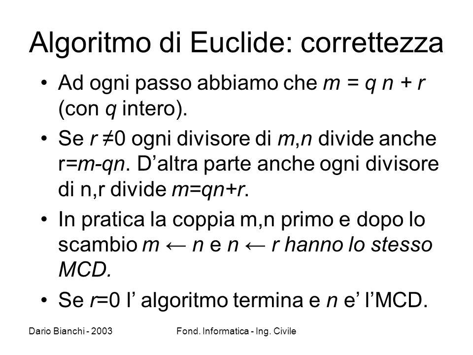 Algoritmo di Euclide: correttezza