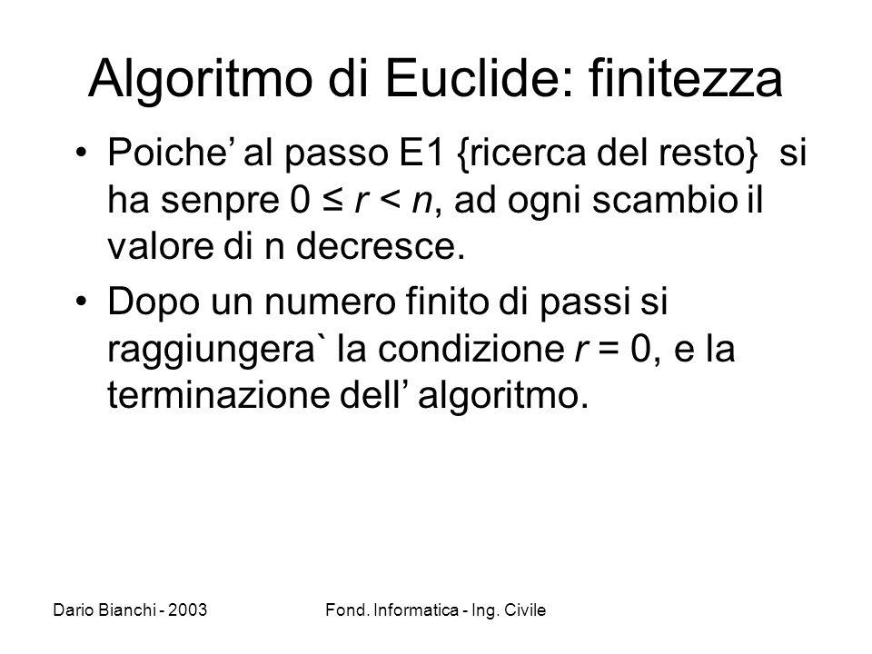 Algoritmo di Euclide: finitezza