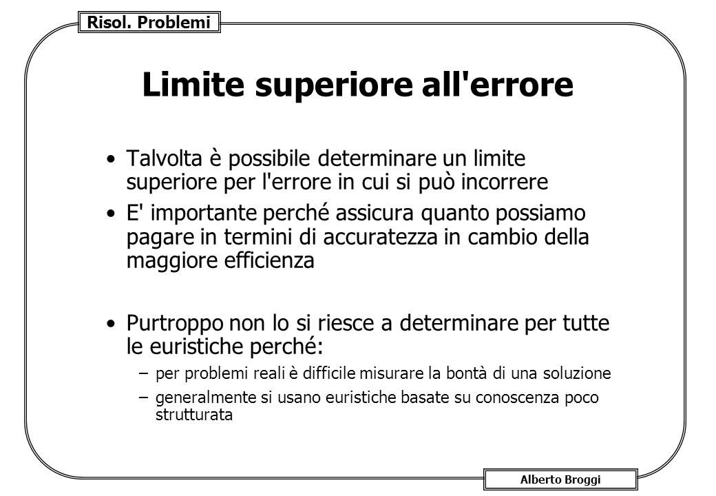 Limite superiore all errore