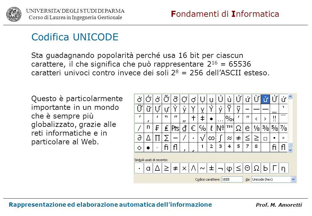 Codifica UNICODE Sta guadagnando popolarità perché usa 16 bit per ciascun. carattere, il che significa che può rappresentare 216 = 65536.