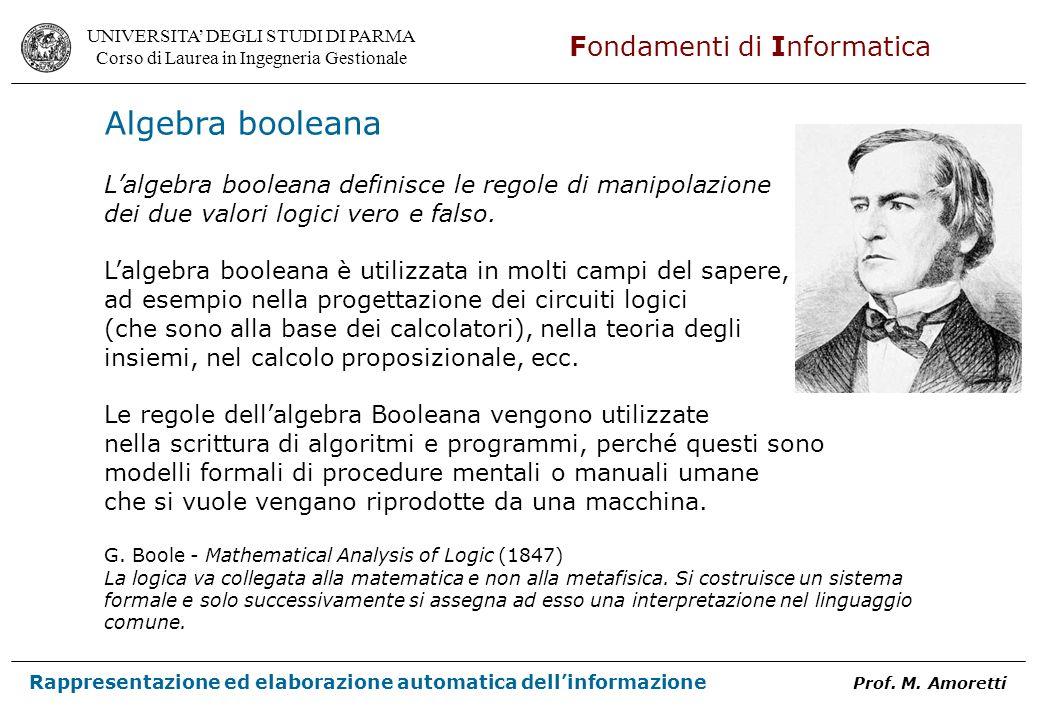 Algebra booleana L'algebra booleana definisce le regole di manipolazione. dei due valori logici vero e falso.