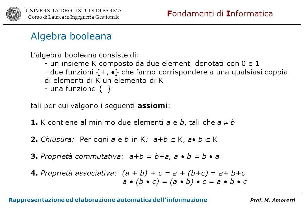 Algebra booleana L'algebra booleana consiste di: