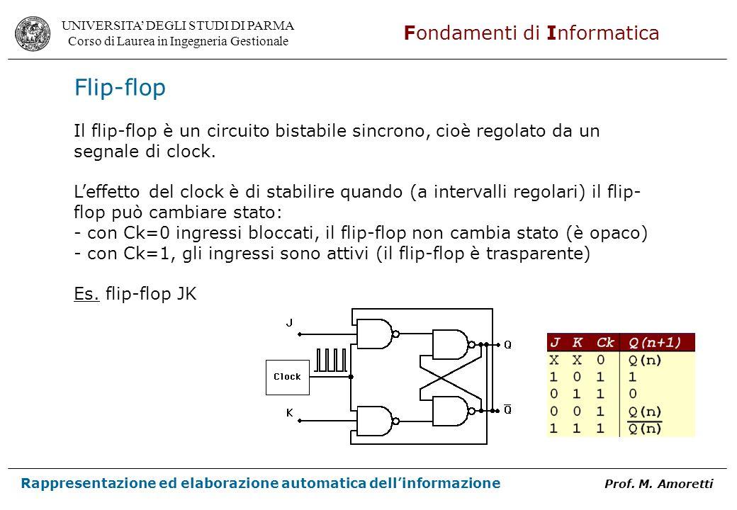 Flip-flop Il flip-flop è un circuito bistabile sincrono, cioè regolato da un. segnale di clock.