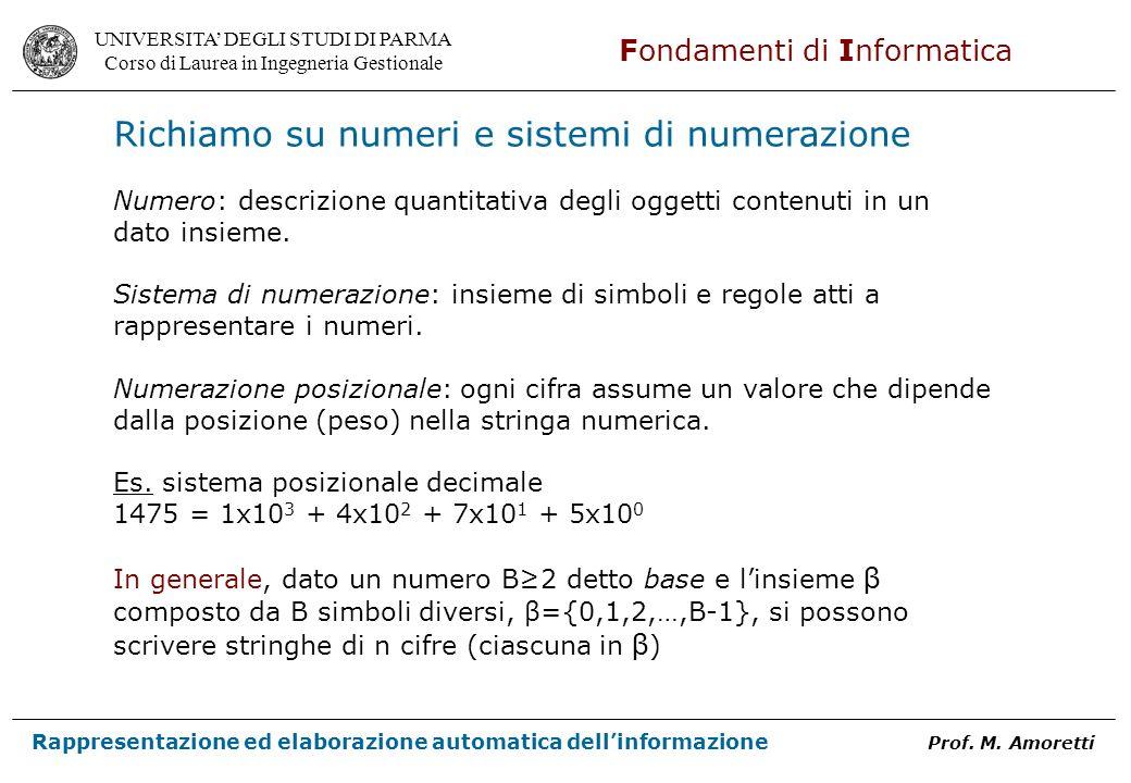 Richiamo su numeri e sistemi di numerazione