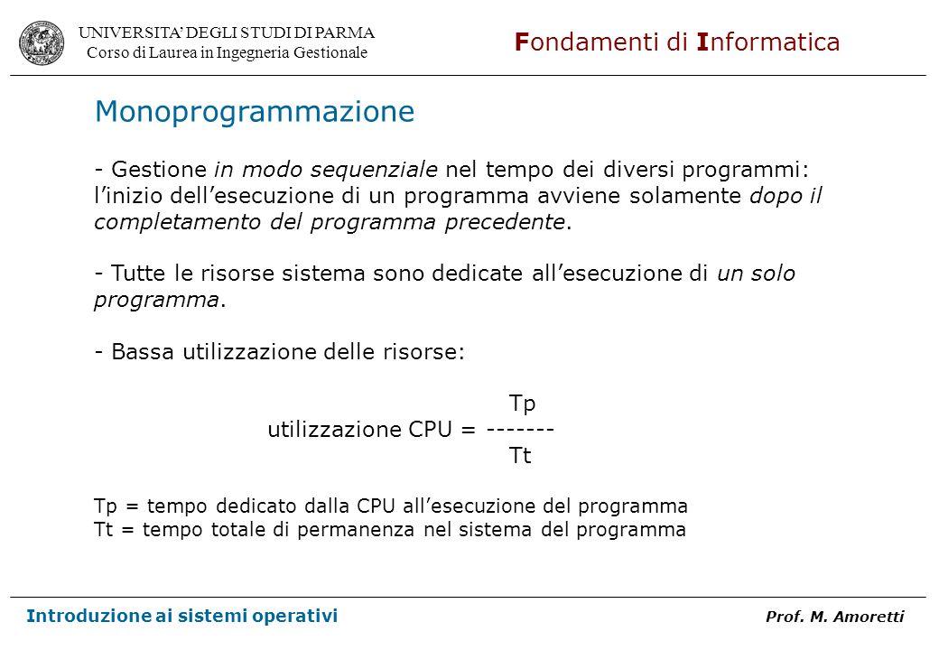 Monoprogrammazione - Gestione in modo sequenziale nel tempo dei diversi programmi: