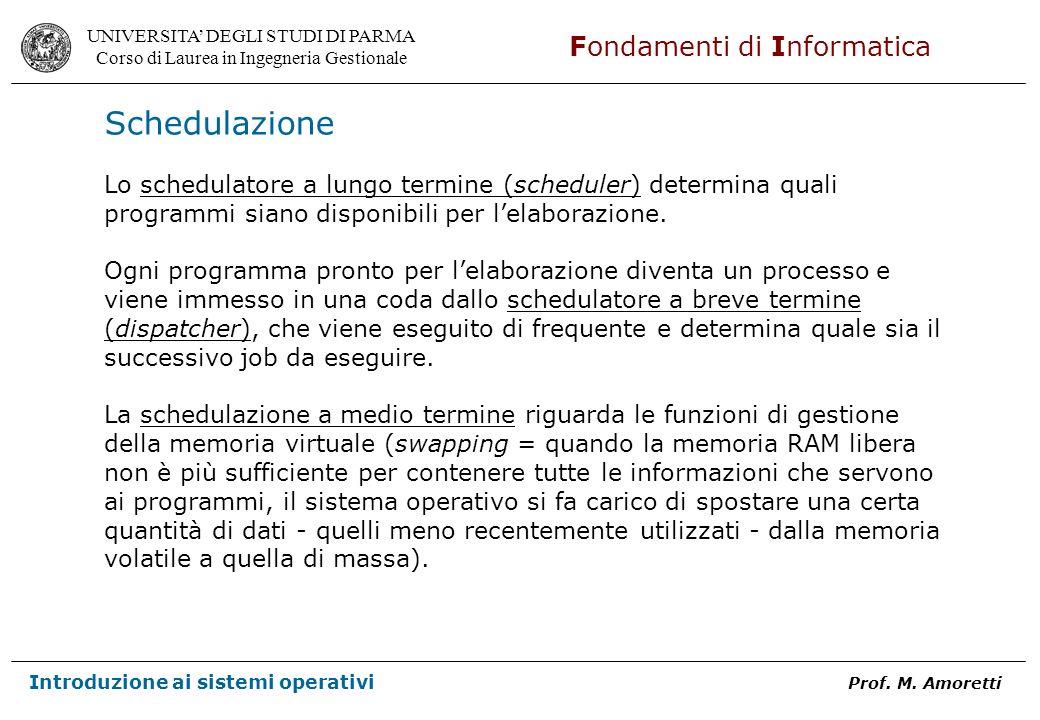 Schedulazione Lo schedulatore a lungo termine (scheduler) determina quali. programmi siano disponibili per l'elaborazione.