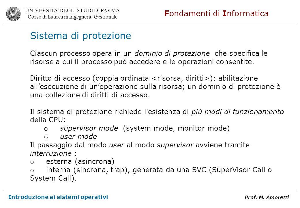 Sistema di protezione Ciascun processo opera in un dominio di protezione che specifica le.