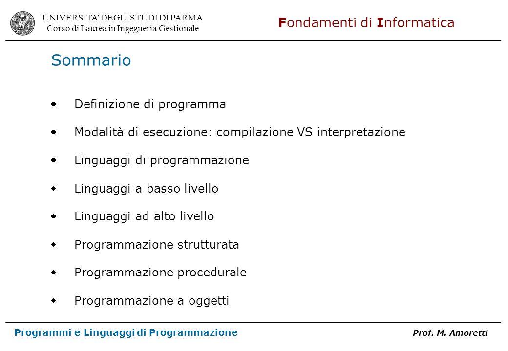 Sommario Definizione di programma