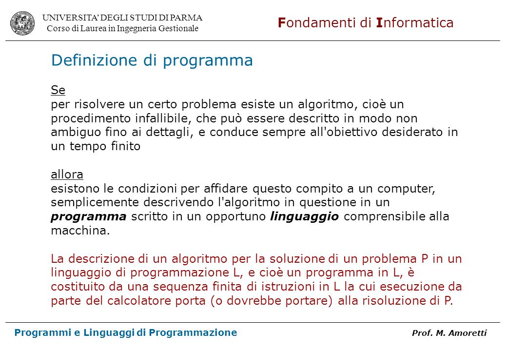 Definizione di programma